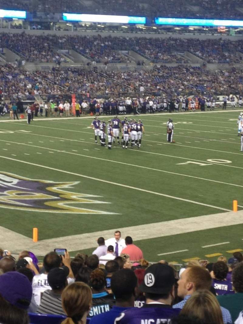 Seating view for M&T Bank Stadium Section 107 Row 18 Seat 15