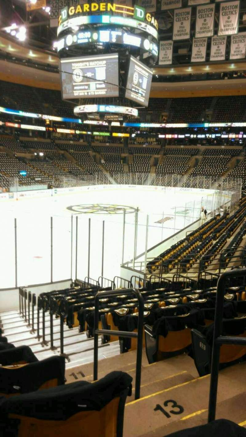 Seating view for TD Garden Section Loge 15 Row 13 Seat 1