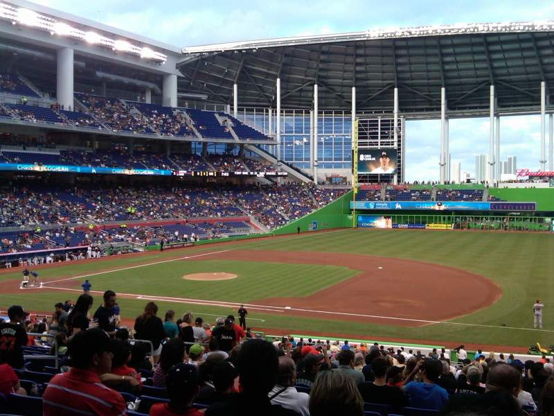 Seating view for Marlins Park Section 7 Row 20 Seat 15