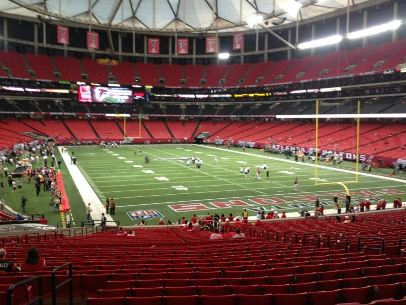 Seating view for Georgia dome Section 108 Row 34 Seat 16