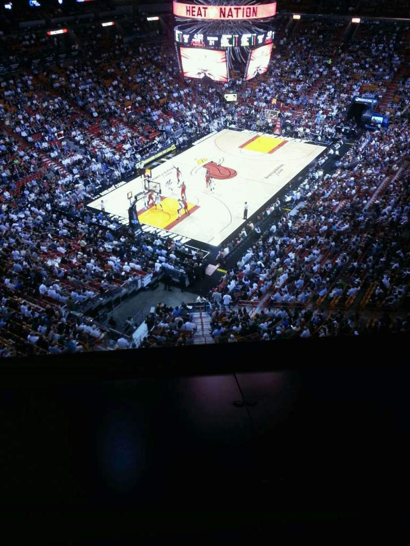 Seating view for American Airlines Arena Section 403 Row 1 Seat 2