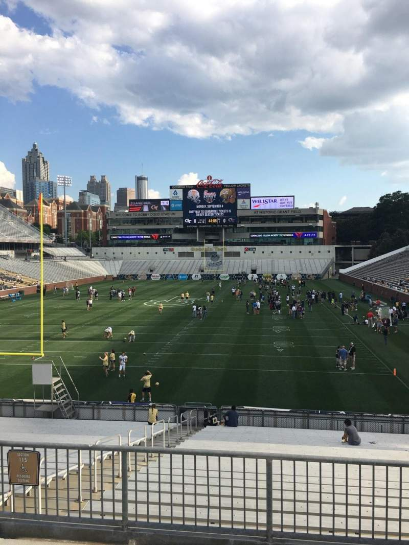 Seating view for Bobby Dodd Stadium Section 115 Row 27 Seat 6