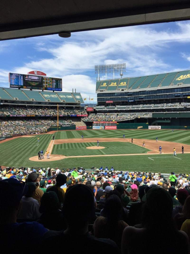 Seating view for Oakland Alameda Coliseum Section 114 Row 34 Seat 4