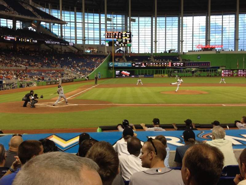 Seating view for Marlins Park Section Clubhouse Box 10 Row F Seat 10