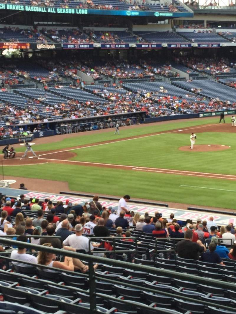 Seating view for Turner Field Section 217 Row 1 Seat 101