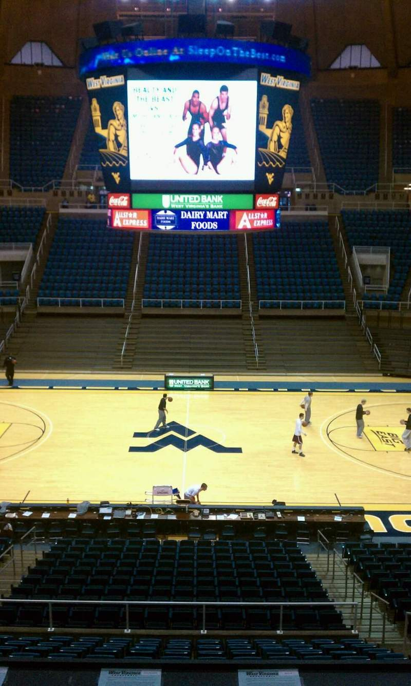 Seating view for WVU Coliseum