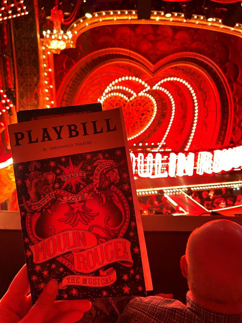 Seating view for Al Hirschfeld Theatre Section Mezzanine L Row B Seat 5