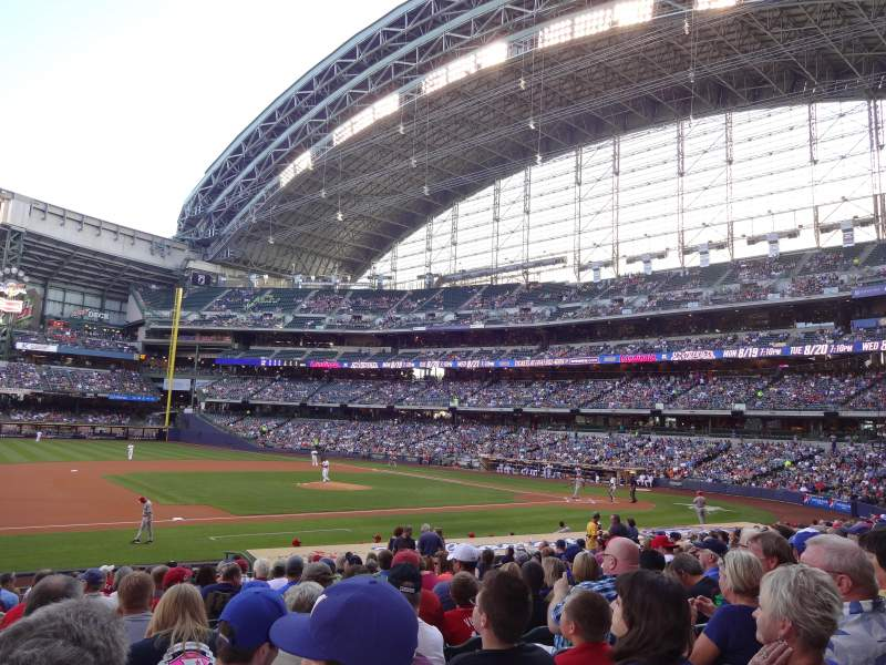 Seating view for Miller Park Section 123 Row 20 Seat 6