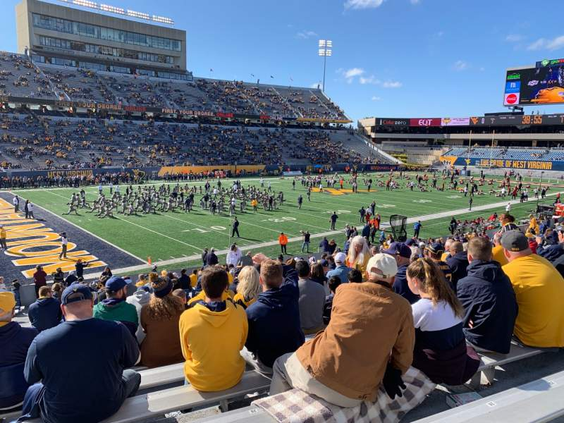 Seating view for Mountaineer Field Section 102 Row 25 Seat 29