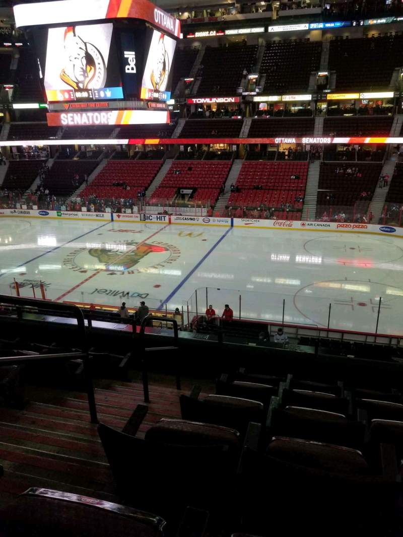 Seating view for Canadian Tire Centre Section 206 Row f Seat 17