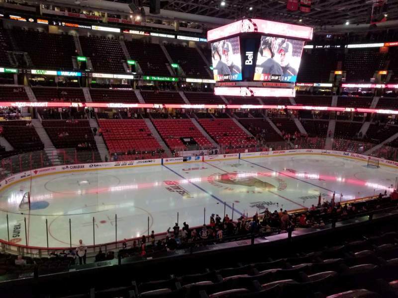 Seating view for Canadian Tire Centre Section 210 Row f Seat 17