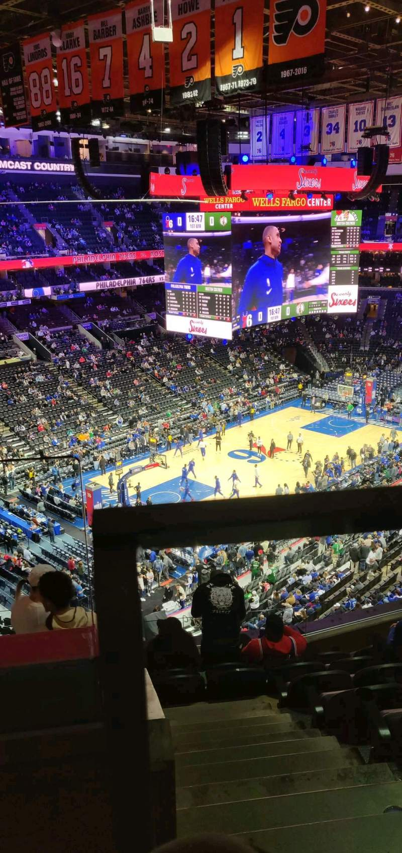 Seating view for Wells Fargo Center Section 222 Row 8 Seat 1