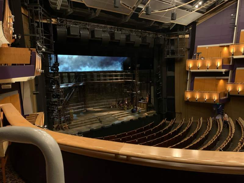 Seating view for Ahmanson Theatre Section Mezzanine  Row B Seat 46