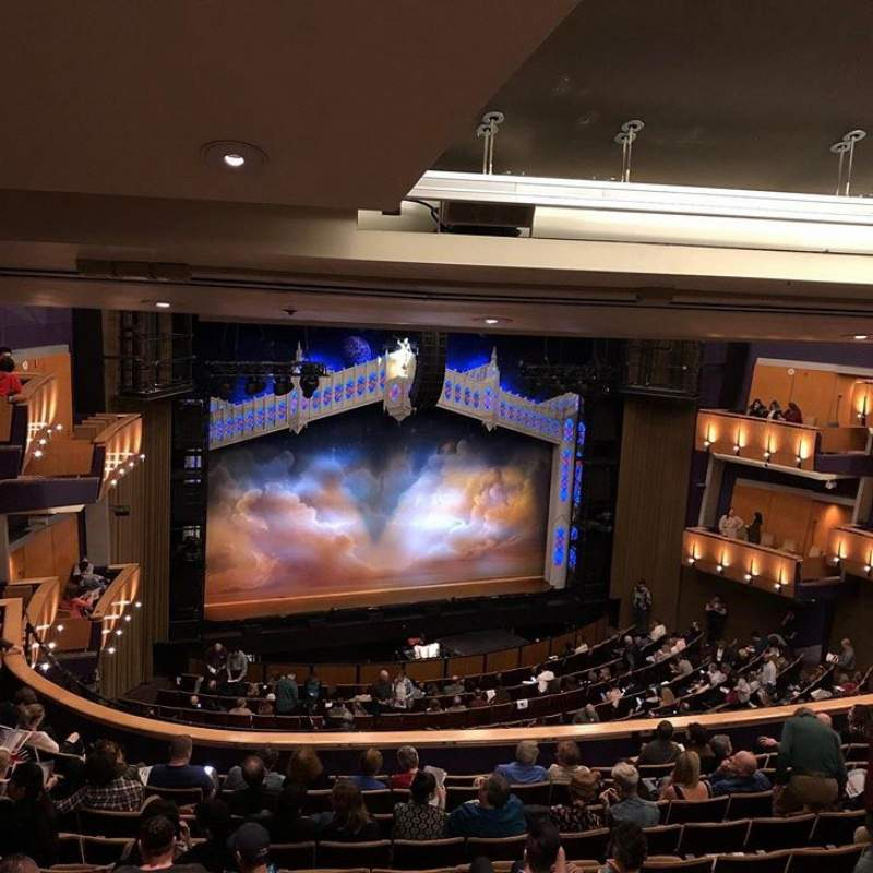 Seating view for Ahmanson Theatre Section Mezzanine Row L Seat 38
