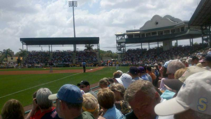 Seating view for McKechnie Field Section Box 19 Row 3 Seat 16
