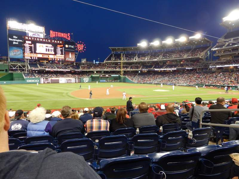 Seating view for Nationals Park Section 114 Row L Seat 3