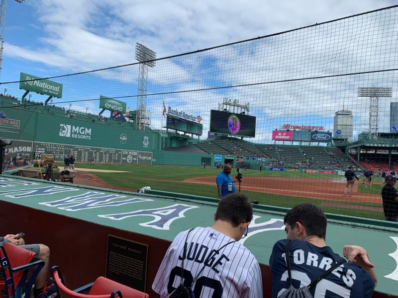 Seating view for Fenway Park Section Field Box 64 Row E Seat 1-3