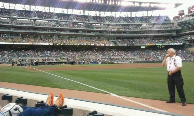 Seating view for Target Field Section 103 Row  2 Seat  1