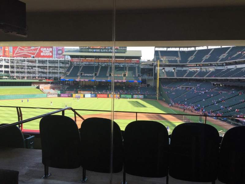 Seating view for Globe Life Park in Arlington Section Ty Cobb Suite 111B Row B Seat 14