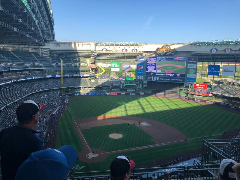 Seating view for Miller Park Section 419 Row 13 Seat 9