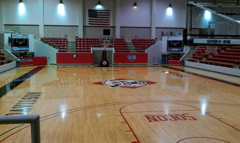 Seating view for John M. Belk Arena Section 1 Row B Seat 14