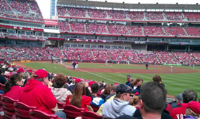 Seating view for Great American Ball Park Section 136 Row P Seat 13