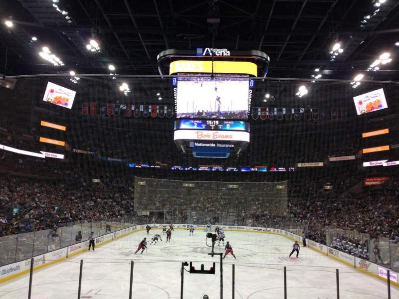 Seating view for Nationwide Arena Section 109 Row P Seat 9