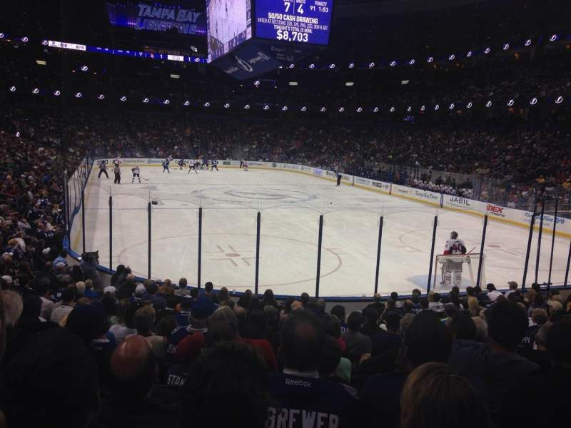 Seating view for Amalie Arena Section 110 Row S Seat 5