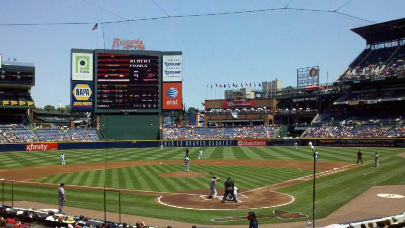 Seating view for Turner Field Section 102 Row 23 Seat 107