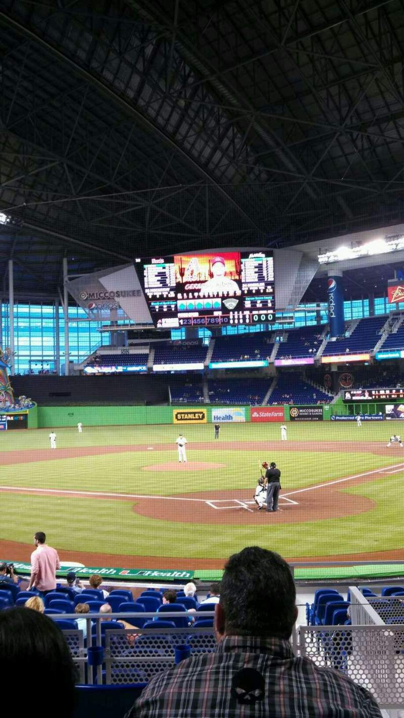 Seating view for Marlins Park Section 16 Row E Seat 1