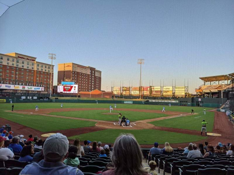 Seating view for Chickasaw Bricktown Ballpark Section 109 Row Q Seat 1