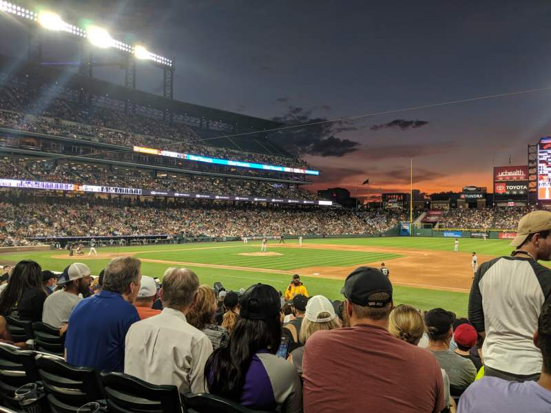 Seating view for Coors Field Section 120 Row 18 Seat 6