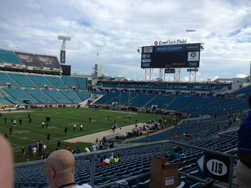 Seating view for Everbank Field Section 215 Row A Seat 7