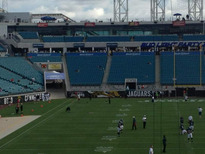 Seating view for Everbank Field Section 123 Row A Seat 1