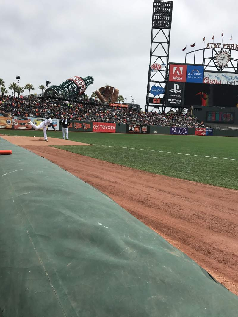 Seating view for Oracle Park Section 127 Row 1 Seat 9