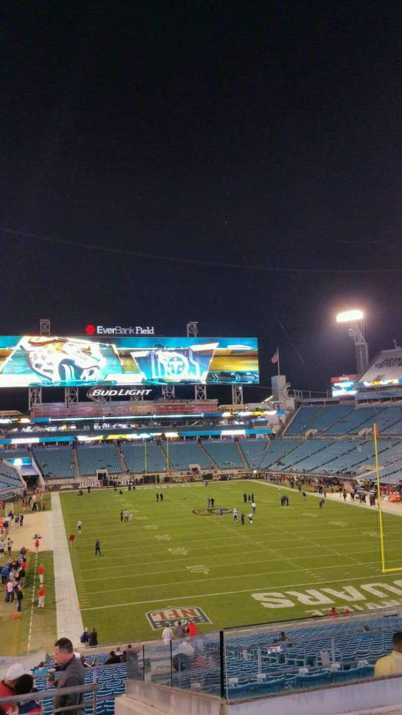 Seating view for EverBank Field Section 225 Row H Seat 15