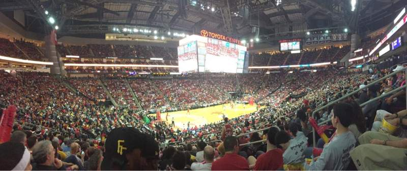 Seating view for Toyota Center Section 124 Row 23 Seat 6