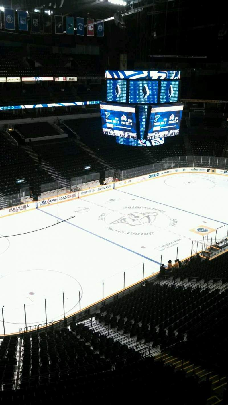 Seating view for Bridgestone Arena Section 306 Row A Seat 16