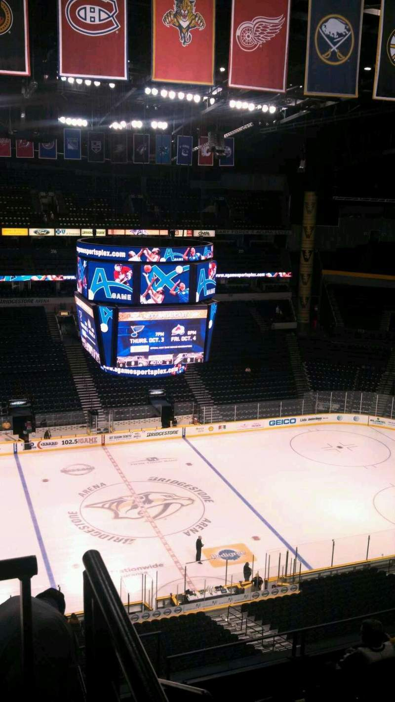 Seating view for Bridgestone Arena Section 308 Row H Seat 1