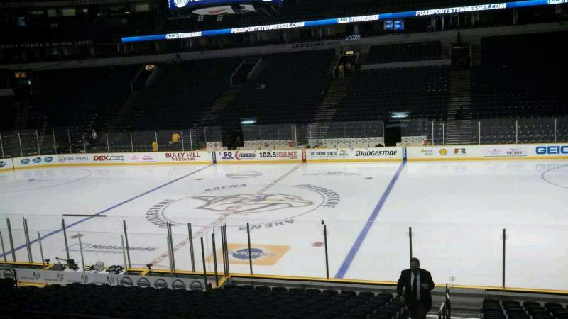 Seating view for Bridgestone Arena Section 107 Row F Seat 27