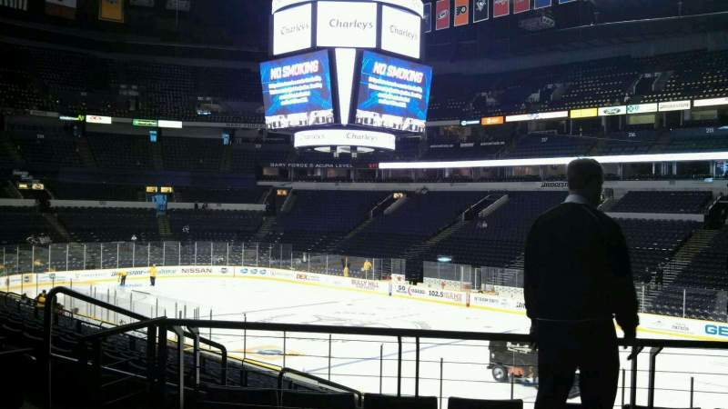 Seating view for Bridgestone Arena Section 107 Row F Seat 1