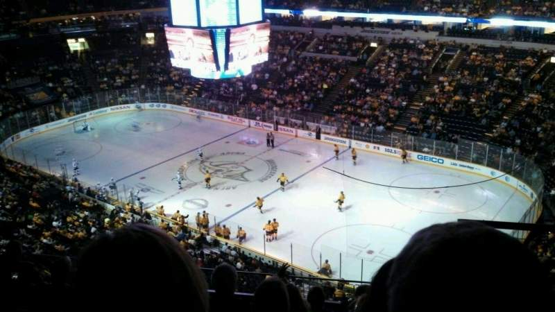 Seating view for Bridgestone Arena Section 329 Row H Seat 17