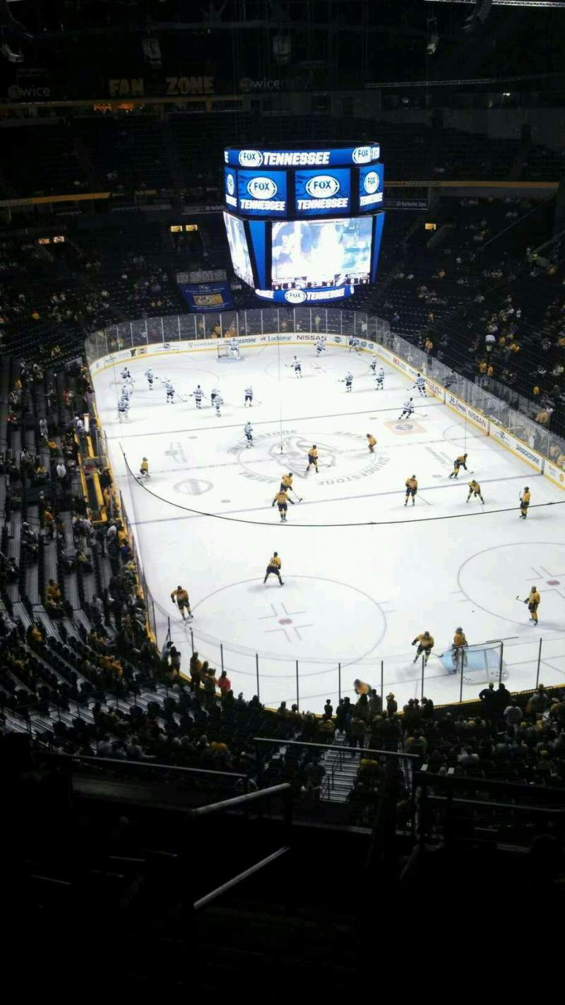 Seating view for Bridgestone Arena Section 221 Row H Seat 13