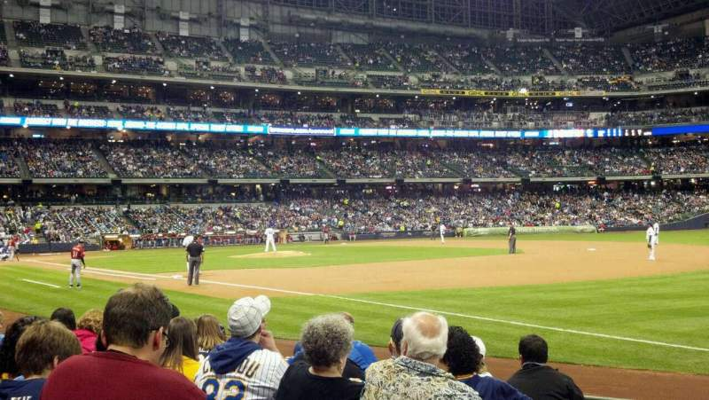 Seating view for Miller Park Section 109 Row 8 Seat 1