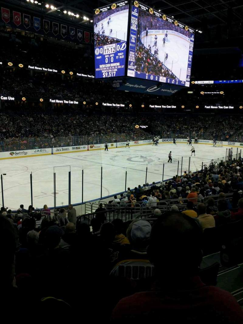 Seating view for Amalie Arena Section 104 Row W Seat 19