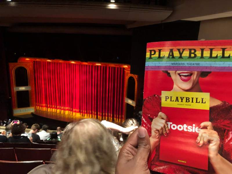 Seating view for Marquis Theatre Section Mezzanine R Row J Seat 22
