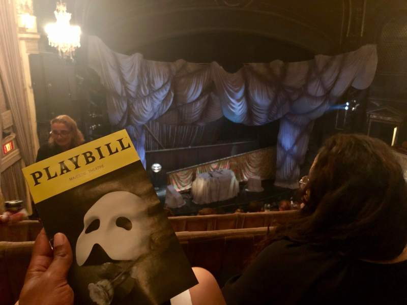 Seating view for Majestic Theatre Section Rear Mezzanine L Row B  Seat 5