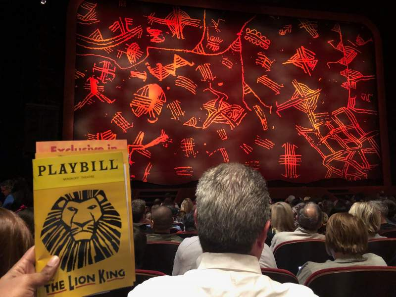Seating view for Minskoff Theatre Section Orchestra C Row M Seat 106