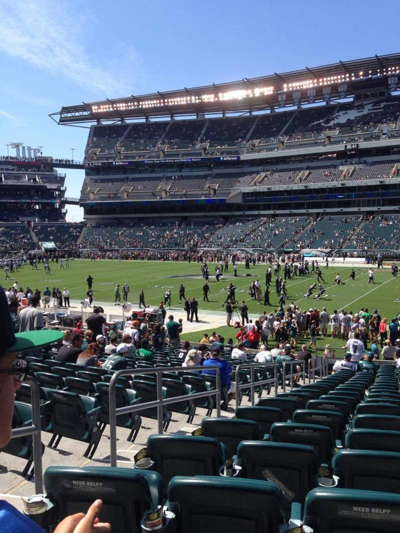 Seating view for Lincoln Financial Field Section 123 Row 23 Seat 22