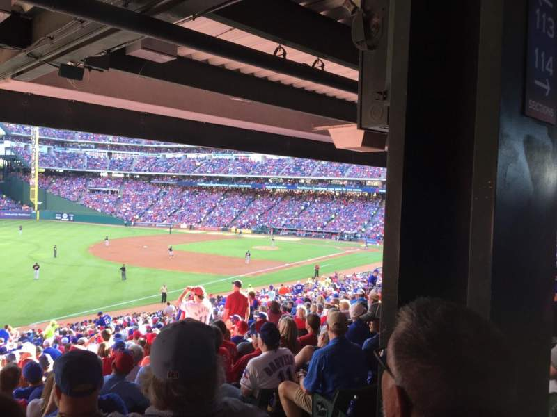 Seating view for Globe Life Park in Arlington Section 113 Row 38 Seat 13